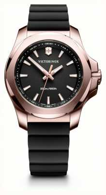 Victorinox Swiss Army INOX Rose Gold Black Dial Black Rubber Strap 241808