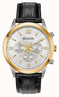 Bulova Women's Black Leather Chronograph Watch 98A218