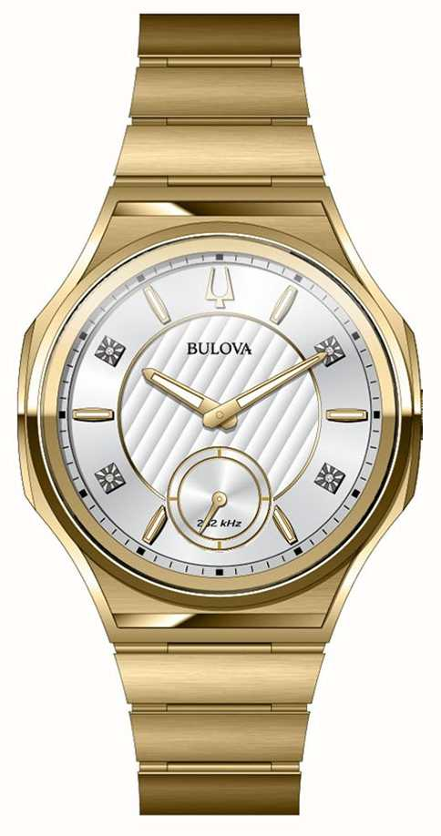 4201ca9cb Bulova Unisex Curv Stainless Steel Gold Plated Watch 97P136 - First ...