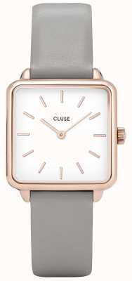 CLUSE Womens La Garconne White Dial Grey Leather Strap CL60005