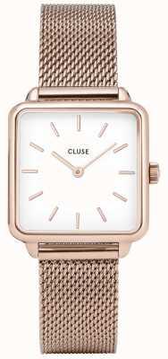 CLUSE Womens La Garconne White Dial Rose Gold Mesh Bracelet CL60003