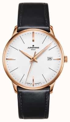 Junghans Meister MEGA MF Black Leather Strap Gold Plated Case 058/7800.00