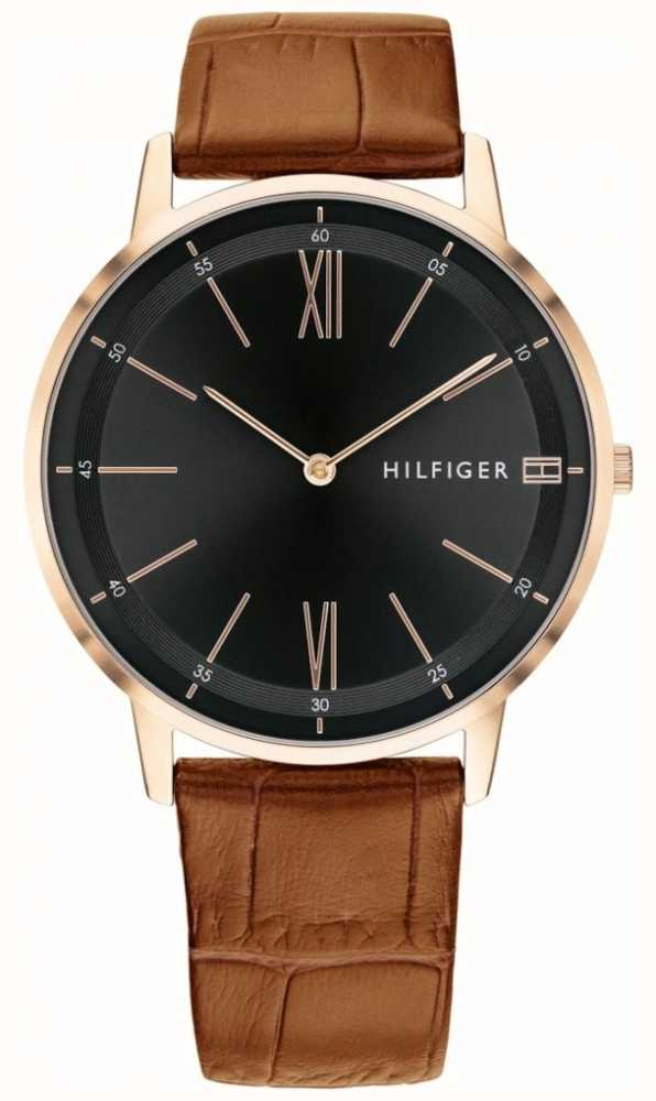 0e5d8d81 Tommy Hilfiger Mens Cooper Watch Brown Leather Black Dial Strap ...