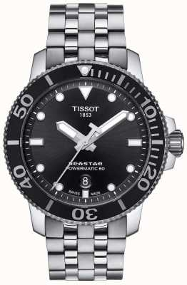 Tissot Mens Seastar 1000 Powermatic 80 Black Dial Stainless Steel T1204071105100