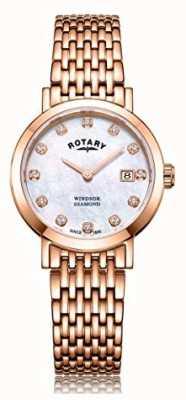 Rotary Womens Windsor Diamond Date Rose Gold Tone Bracelet Watch LB05304/41/D