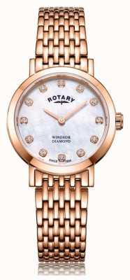 Rotary Womens Windsor Diamond Rose Gold Tone Bracelet Watch LB05304/41/D