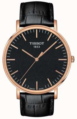Tissot Mens Everytime Large Black Leather Strap Black Dial T1096103605100