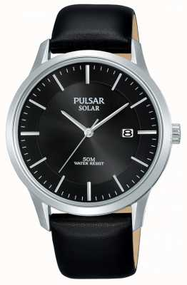 Pulsar Mens Stainless Steel Case Black Solar Dial Leather Strap PX3163X1