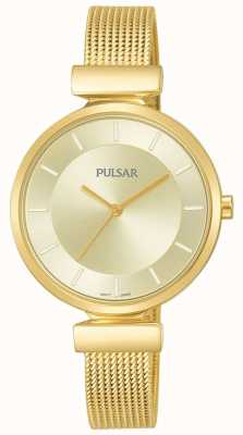 Pulsar Ladies Gold Tone Stainless Steel Mesh Watch PH8412X1