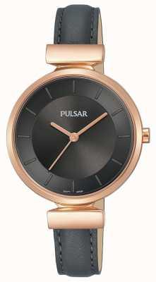 Pulsar Ladies Rose Gold Plated Case Dark Grey Leather Strap PH8420X1