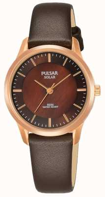 Pulsar Ladies Rose Gold Plated Case Brown Leather Strap Brown Dial PY5044X1