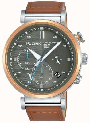 Pulsar Mens Rose Gold Plated Case Grey Chronograph Dial PZ5070X1