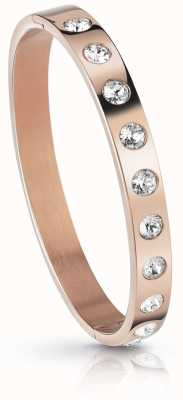 Guess Womens Rose Gold Plated Crystal Touch Bangle UBB28122-L