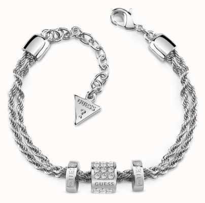 Guess Womens Rhodium Plated 3 Beads G Colours Bracelet UBB84087-L