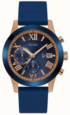 Guess Mens Rose Gold Watch With Blue Dial And Strap W1055G2