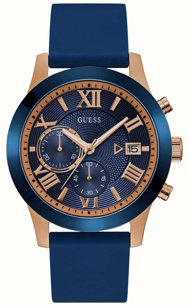 Guess Mens Rose Gold Watch With Blue Dial And Strap W1055g2 First