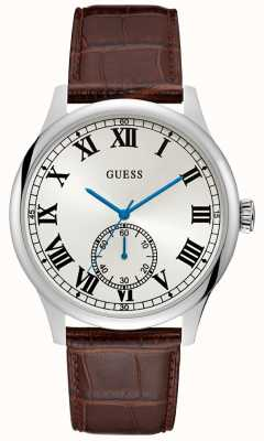 Guess Mens Analogue Silver Round Watch Brow Leather Strap W1075G4