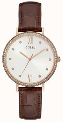 Guess Ladies Brown Crocodile Print Leather Strap Rose Gold Watch W1153L2