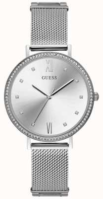Guess Ladies Silver Mesh Bracelet Silver Dial W1154L1