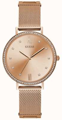 Guess Ladies Rose Gold Mesh Bracelet Rose Gold Dial W1154L2