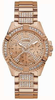 Guess Ladies Rose Gold Watch Rose Gold Dial With Crystals W1156L3