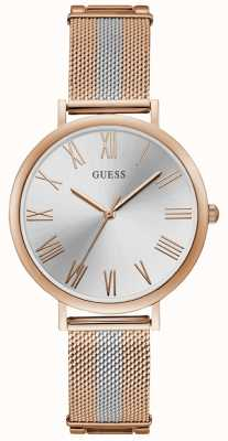 Guess Ladies Two Tone Rose Gold And Silver Mesh Bracelet Watch W1155L4