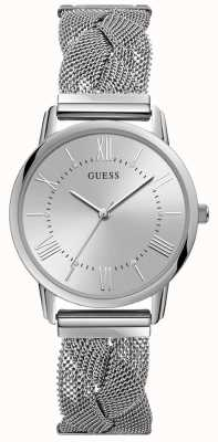 Guess Ladies Silver Braided Mesh Bracelet Silver Watch W1143L1
