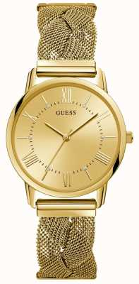 Guess Ladies Gold Braided Mesh Bracelet Gold Watch W1143L2
