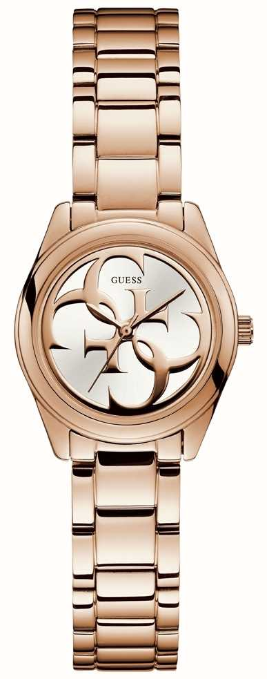 Guess Ladies Rose Gold Plated G Twist Watch White Dial ...