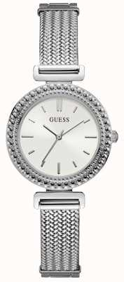 Guess Ladies Silver Mesh Bracelet Silver Watch White Dial W1152L1