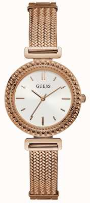 Guess Ladies Rose Gold Mesh Bracelet Rose Gold Watch White Dial W1152L3