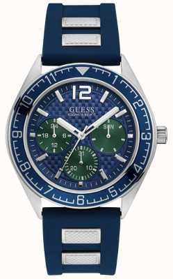 Guess Mens Blue Chronograph Watch Blue Rubber Strap W1167G1