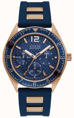Guess Mens Blue Chronograph Watch With Rose Gold Blue Rubber Strap W1167G3