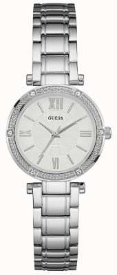 Guess Ladies Silver Watch With White Dial W1134L1