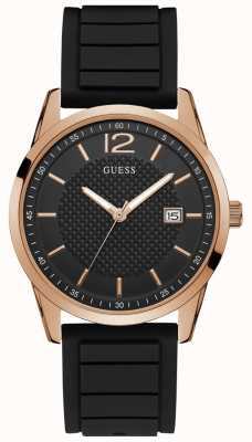 Guess Mens Rose Gold Watch Black Silicone Strap And Black Dial W0991G7