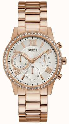 Guess Ladies Rose Gold Watch With Crystals And A White Dial W1069L3