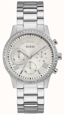Guess Ladies Silver Watch With Crystals And A Silver Dial W1069L1