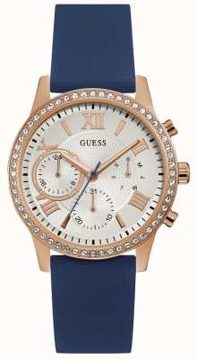 Guess Ladies Rose Gold Watch With Blue Silicone Strap W1135L3
