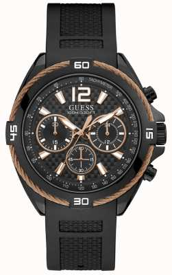 Guess Mens Black Watch Black Starp With Copper Wire Detail W1168G3