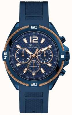 Guess Mens Blue Watch Blue Strap With Copper Wire Detail W1168G4