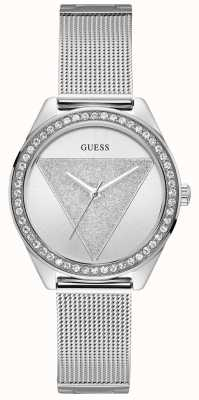 Guess Ladies Silver Watch Glitz Logo W1142L1