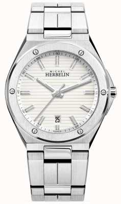 Michel Herbelin Womans Two Tone Strap White Index Dial