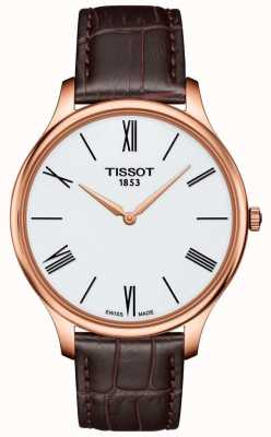 Tissot Mens Tradition Thin Brown Leather Strap Rose Plated Watch T0634093601800