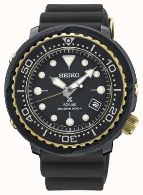 Seiko Mens Tuna Black And Gold Solar Prospex Divers Watch SNE498P1