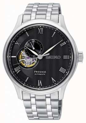 Seiko Presage Mens Automatic Black Dial Stainless Steel Bracelet SSA377J1