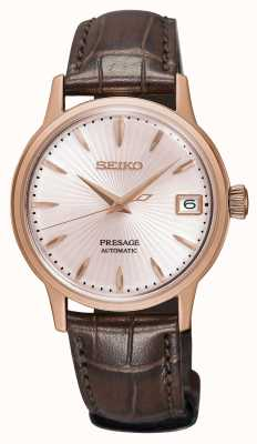 Seiko Presage Womens Automatic Watch Rose Gold Brown Leather Strap SRP852J1