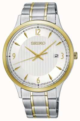 Seiko Mens Classic Pattern White Dial Two Tone Watch SGEH82P1