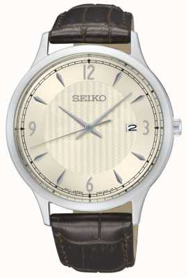 Seiko Mens Classic Pattern Cream Dial Brown Leather Strap Watch SGEH83P1