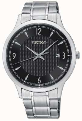 Seiko Mens Classic Pattern Black Dial Stainless Steel Watch SGEH81P1