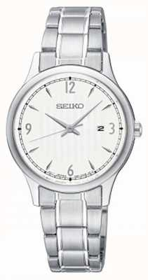Seiko Womens Classic Pattern White Dial Stainless Steel Watch SXDG93P1